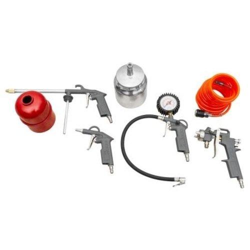 Zipper Zipper Compressor accessoires 5-delig - Verfspuitpistool - Spiraalslang - Luchtblaaspistool - Bandenvulmeter met nanometer - Spuitpistool
