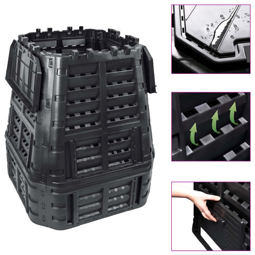VXL Compostbak 740 L 93,3x93,3x113 cm zwart