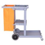 HOMdotCOM Schoonmaakwagen met 3 legplanken en afvalzak grijs/oranje