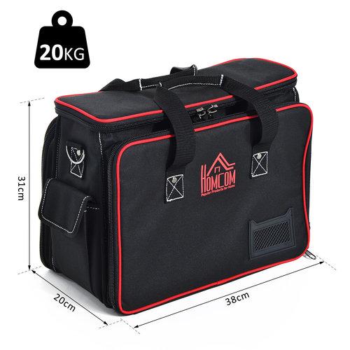 HOMdotCOM Gereedschapstas met schouderband zwart/rood 38 x 20 x 31cm