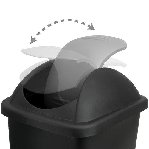 Deuba Deuba Afvalbak zwart/zilver 60 liter