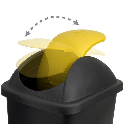 Deuba Deuba Afvalbak zwart/geel 60 liter
