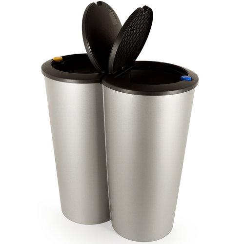 Dubbele afvalbak Klein 2 x 25L voor scheiden afval - zilver kunststof