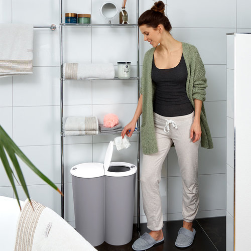 Deuba Deuba Dubbele afvalbak voor het scheiden van afval - kunststof grijs 2x25L