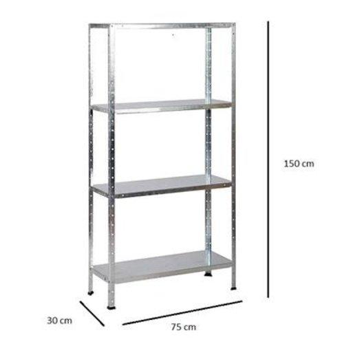 Erro ERRO Metalen Opbergrek/Stellingkast met 4 legborden - 200kg draagkracht - (HxBxD) 175x73x30cm - 50kg per plank - Gegalvaniseerd
