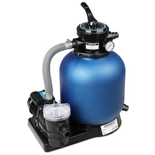 Deuba Zandfiltersysteem-550W - incl pomp + voorfilter + XXL tank, 10980 Liter P/U - zwart blauw