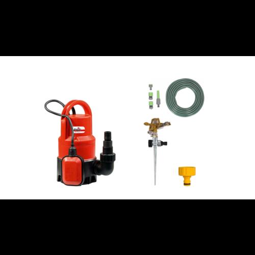 Grizzly Tools  Grizzly Vuilwaterpomp Dompelpomp set INCLUSIEF 15 meter tuinslang, Tuinsproeier met Verbindingsstukken, Gazonsproeier en kraanstuk