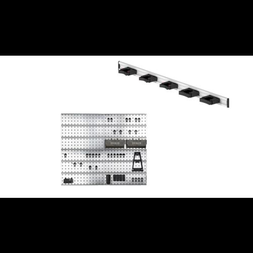 Raaco Raaco Super Clip Set - Opbergsysteem met Toolflex Aluminium Rail met 5 Gereedschapshouders