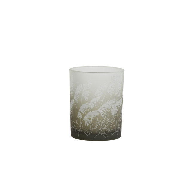 Light & Living Theelicht Ø10x12,5 cm ISSA glas grijs bruin