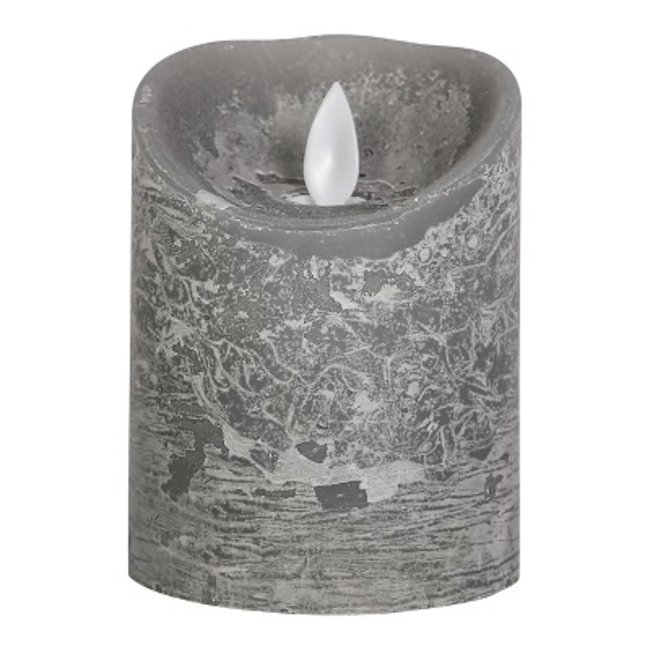PTMD LED Candle rustic grey moveable flame Ø7,5x10cm