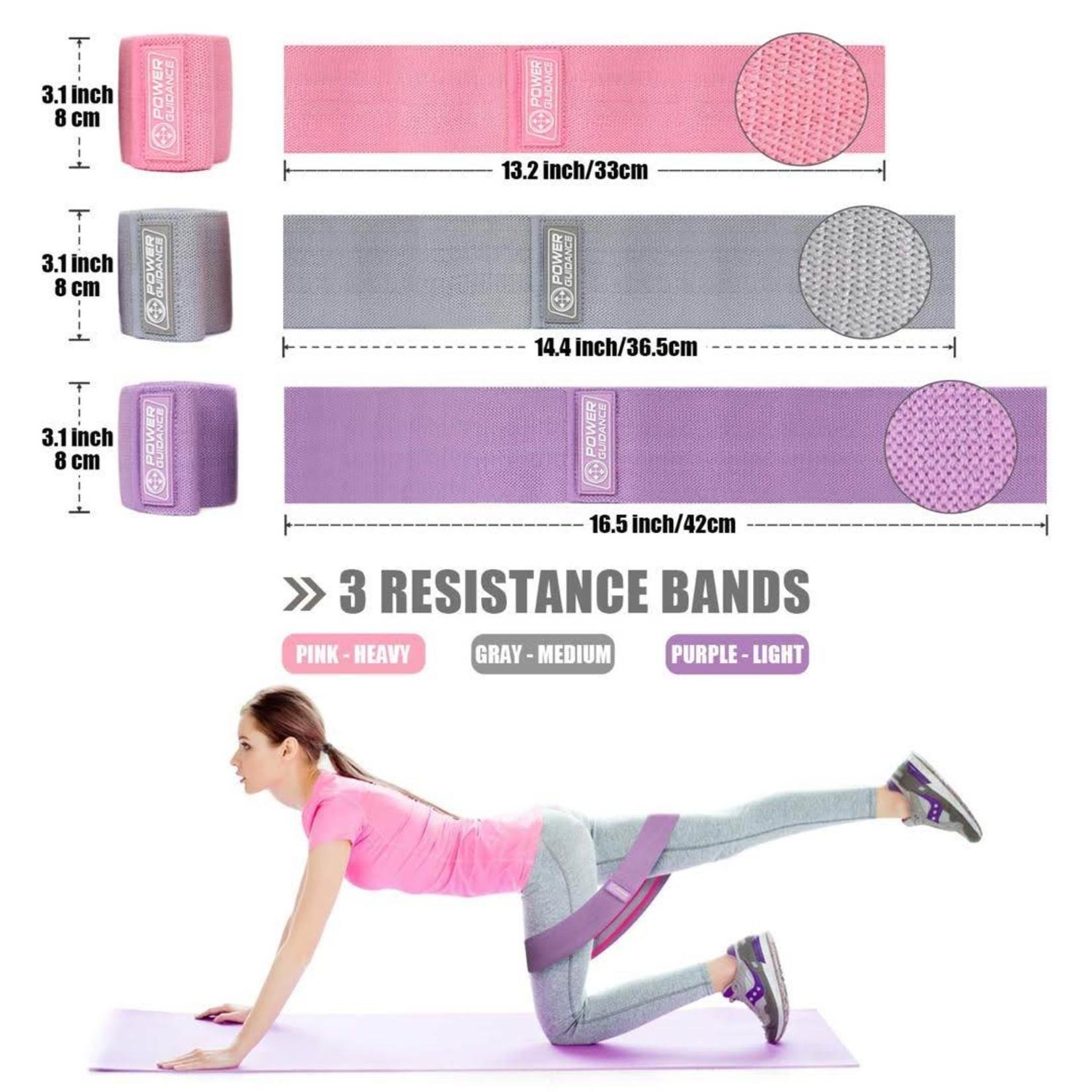 Jobber Fitness Weerstandsbanden set Power Guidance roze, grijs & paars
