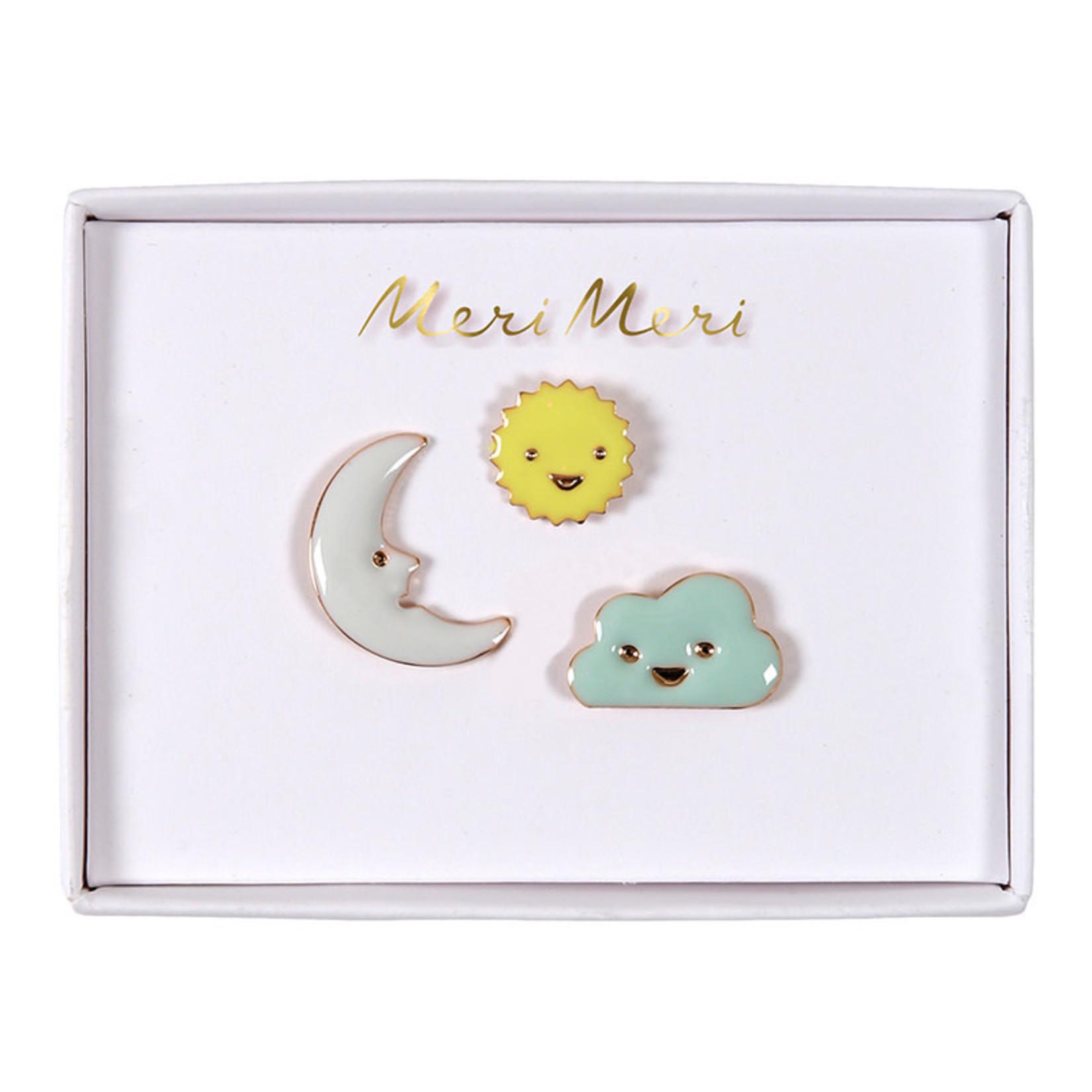 Meri Meri • emaille pins sun, moon & clouds