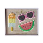 Meri Meri • broches geborduurd meloen, zonnebril & ijsje