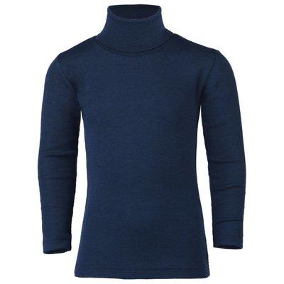 Engel Natur Wol/zijde col shirt, marineblauw