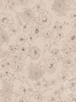 Family Fabrics FLORALINES ROSE JERSEY 90% katoen 10% elastaan