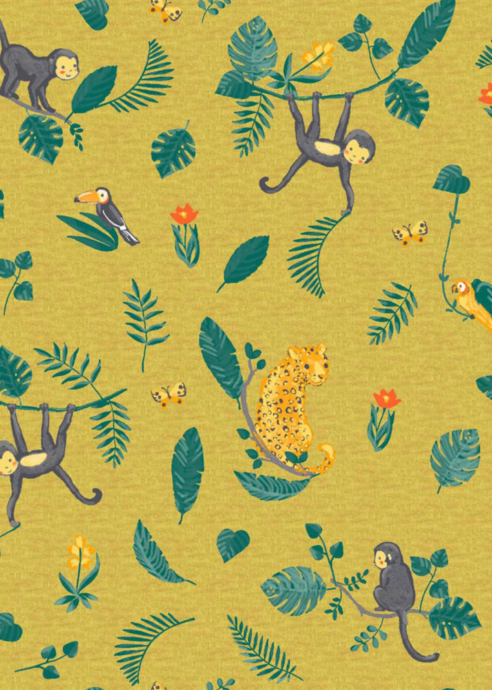 Poppy Coupon 110cm Jersey GOTS digit Swinging Monkeys