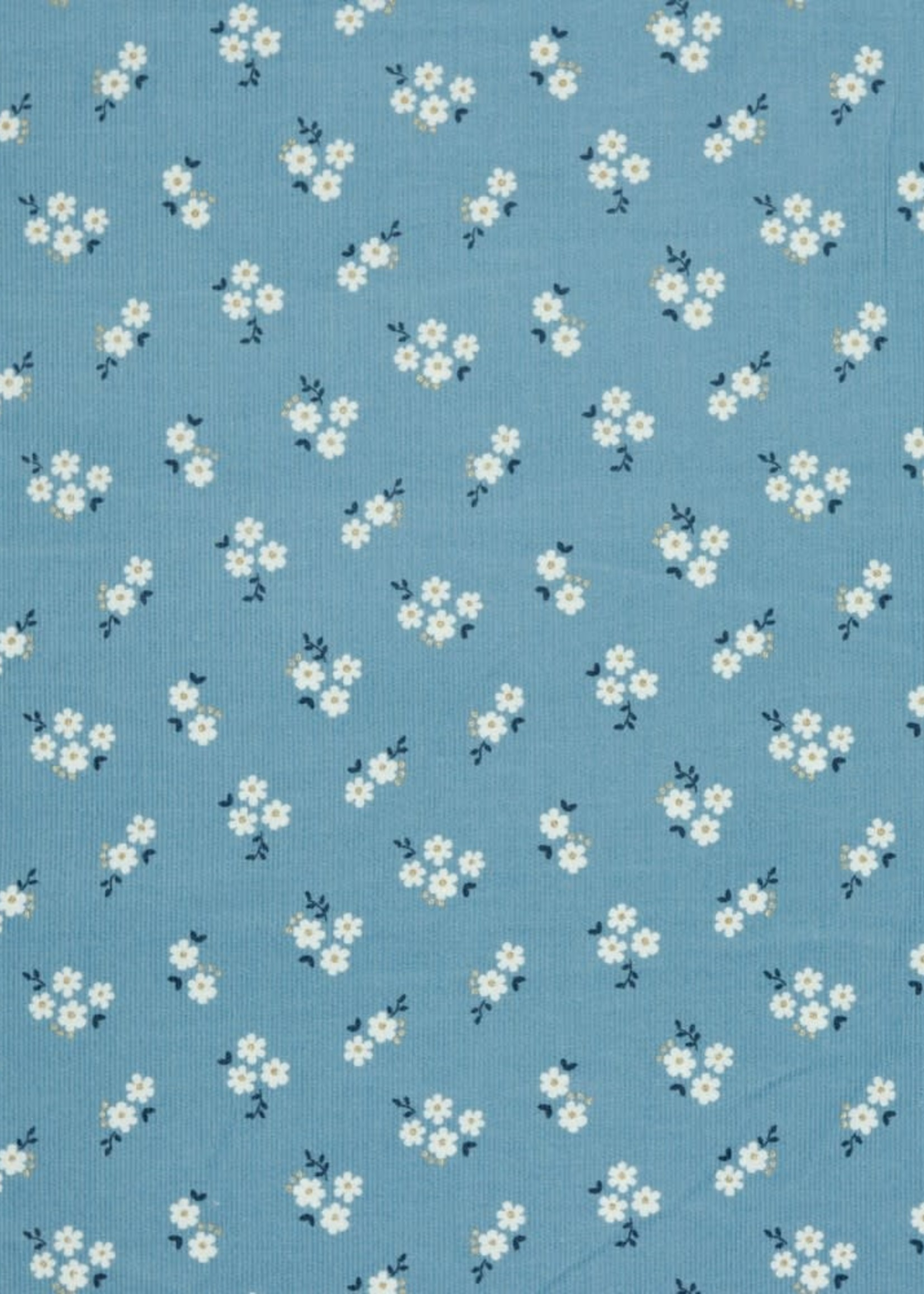 Poppy BABYCORD GLITTER SMALL FLOWERS LIGHT BLUE 100%CO