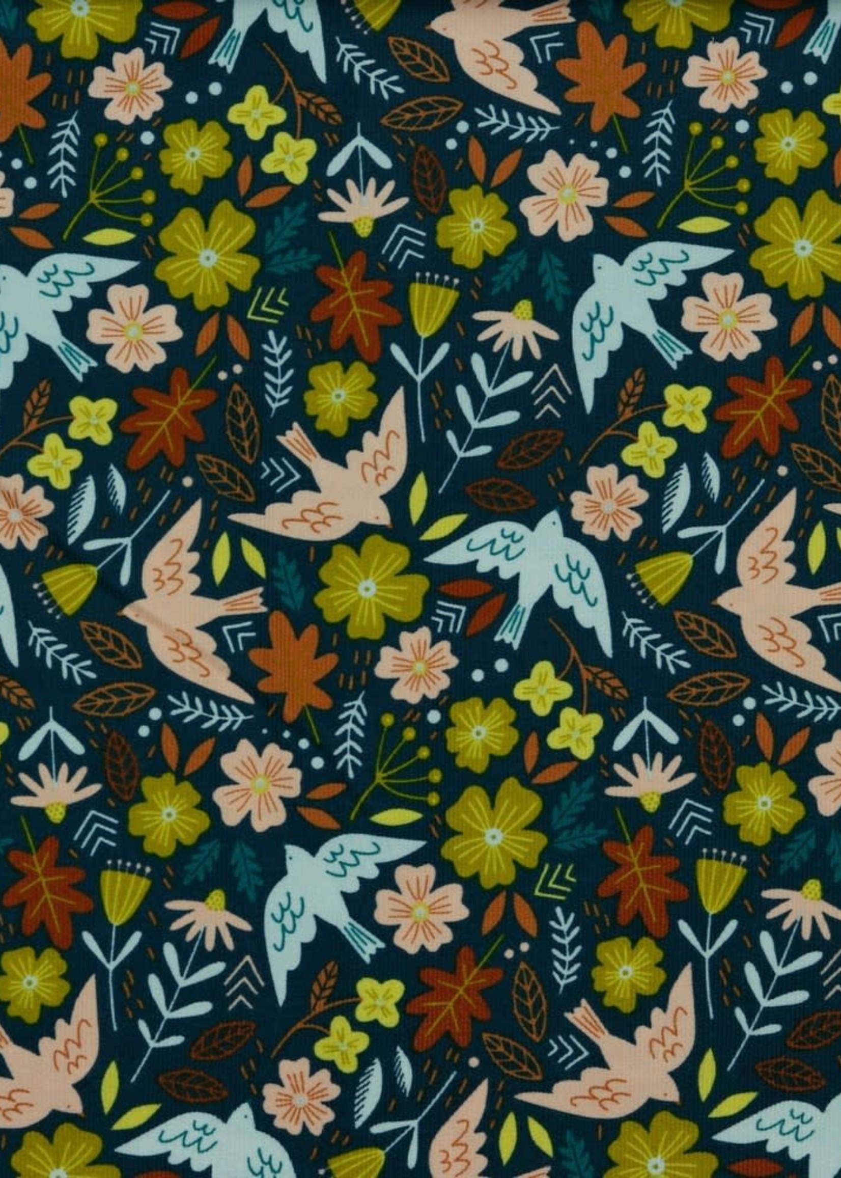 Poppy BABYCORD FLOWERS AND BIRDS PETROL
