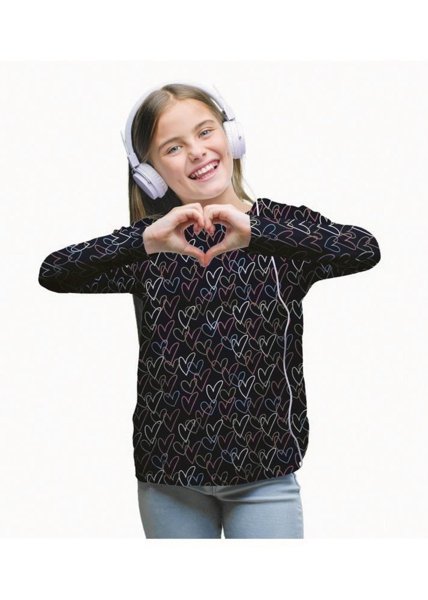 Poppy JERSEY GLITTER HEARTS NAVY