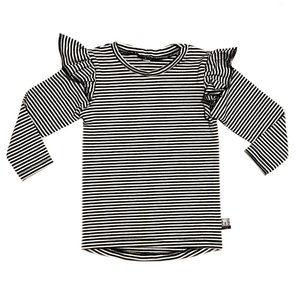 4 baby en kids Ruffled longsleeve thin stripe