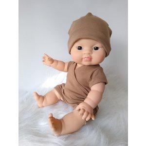 Kia Ora Doll Design Poppen romper boys camel