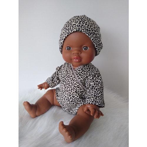 Kia Ora Doll Design Poppen beanie leopard zand