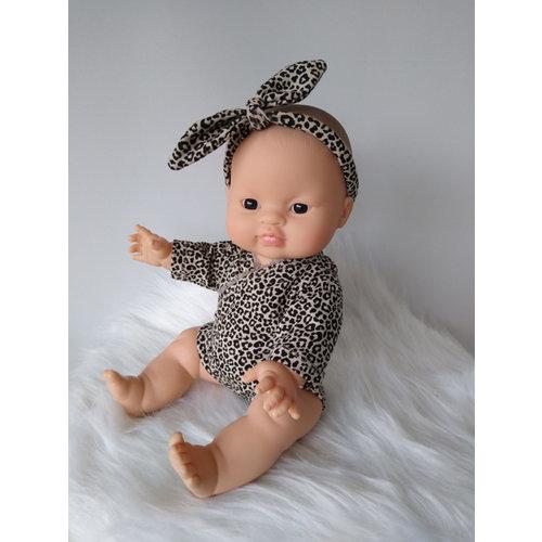 Kia Ora Doll Design Poppen romper leopard zand