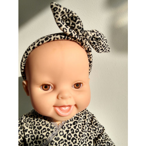 Kia Ora Doll Design Poppen haarbandje leopard zand