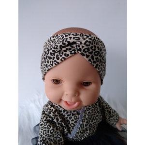 Kia Ora Doll Design Poppen haarband turban leopard zand