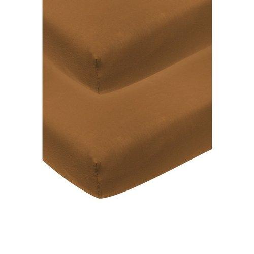 Meyco Jersey ledikant hoeslaken 2-pack camel