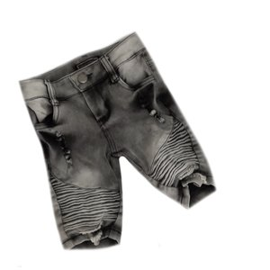 Distressed grey jeans short