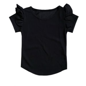 Ruffled t-shirt zwart