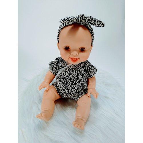 Kia Ora Doll Design Poppen romper leopard zand korte mouw