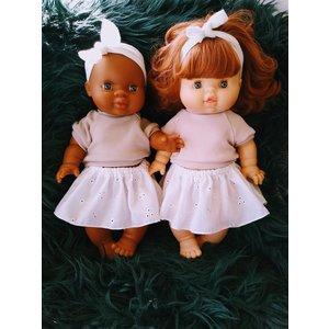 Kia Ora Doll Design Poppen rokje broderie wit