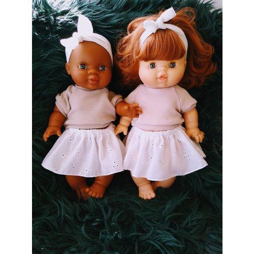 Kia Ora Doll Design Poppen haarbandje broderie wit