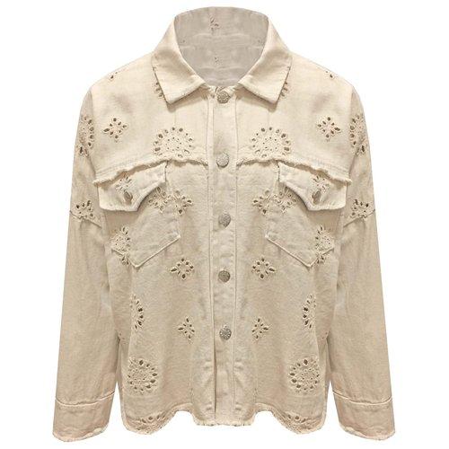 Oversized embroidery mom jacket