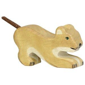 Holztiger Kleine spelende leeuw