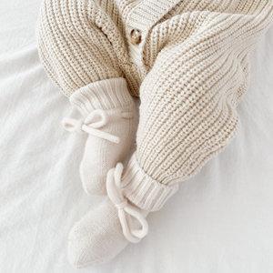 Petite Noé Merino wol booties off-white