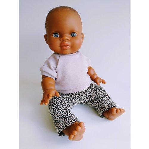 Kia Ora Doll Design Poppen legging Leopard zand