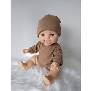 Kia Ora Doll Design Poppen romper camel longsleeve