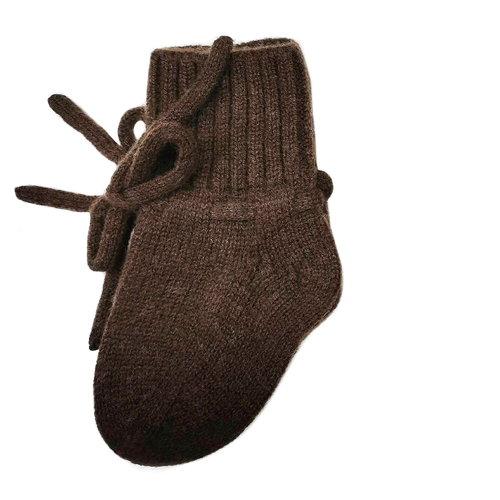 Petite Noé Merino wol booties dark brown
