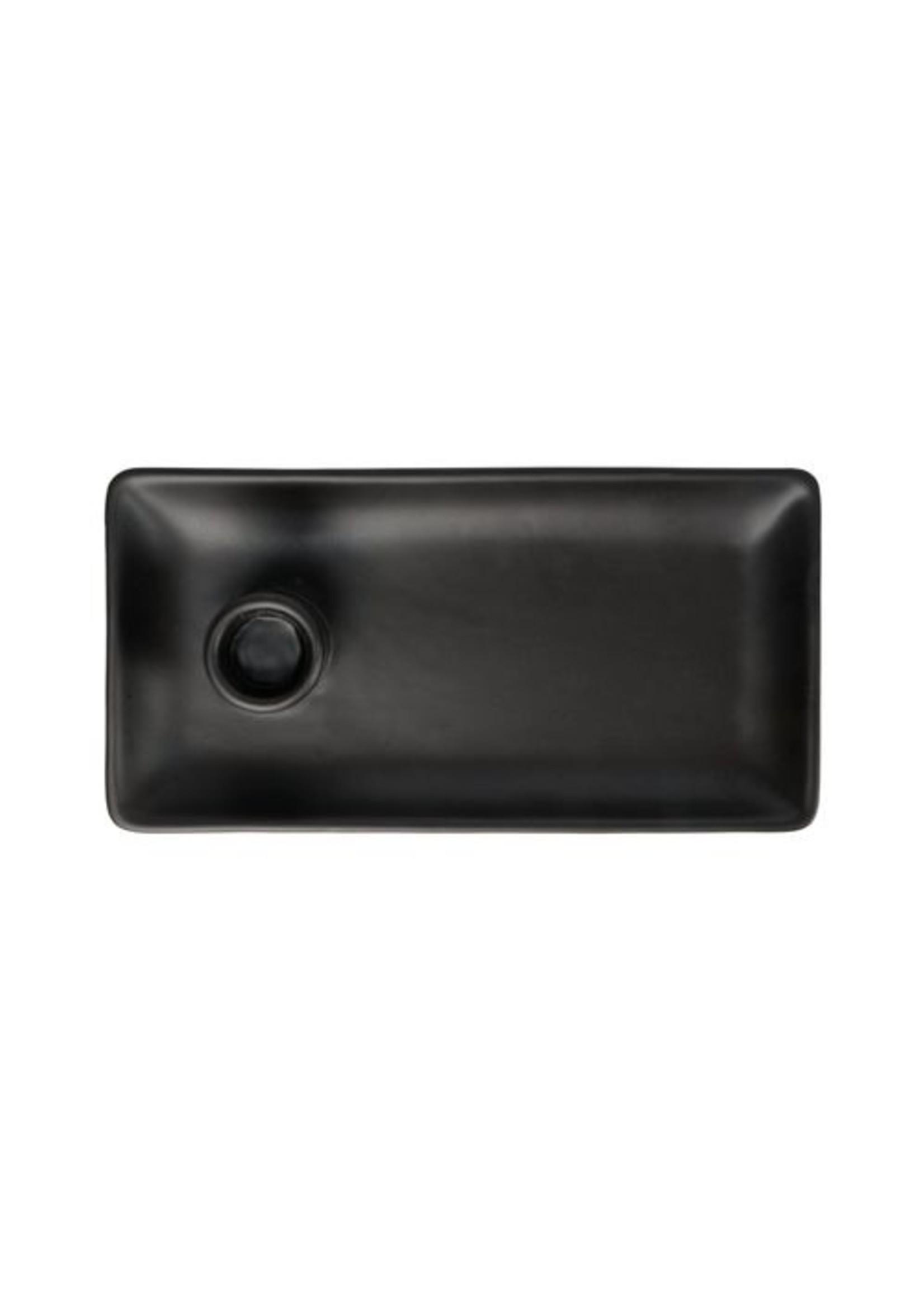 Zusss Kandelaar met blad keramiek mat zwart