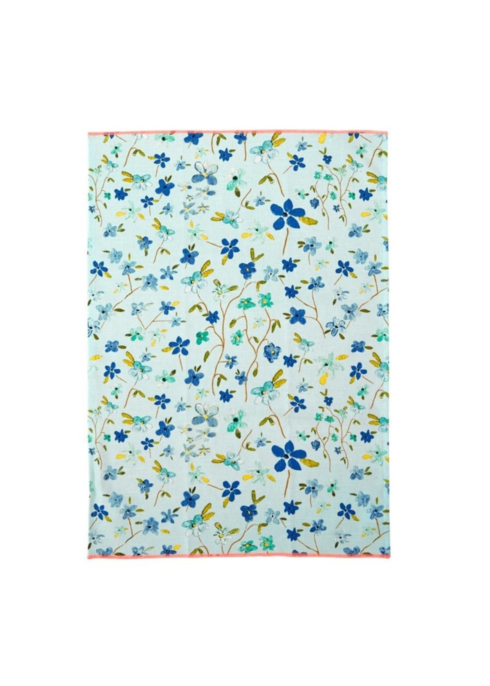 Rice Theedoek blauwe bloemen
