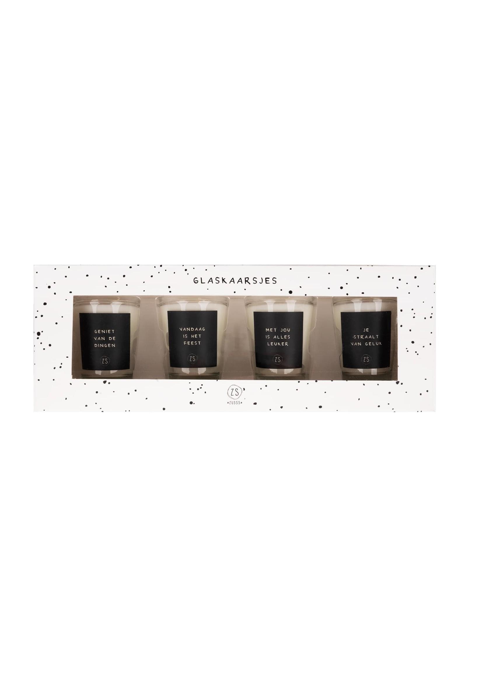 Zusss Set van 4 glaskaarsjes met tekst zwart