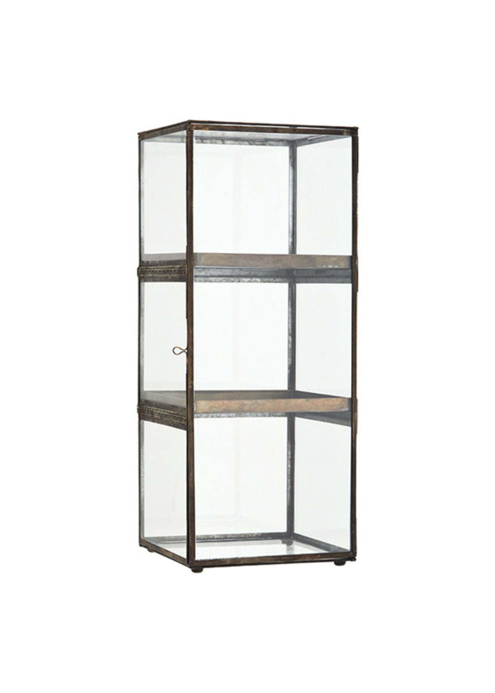 Madam Stoltz Glazen cabinet antiek brass 25x25x64 cm