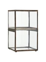 Madam Stoltz Glazen cabinet antiek brass 25x25x42 cm