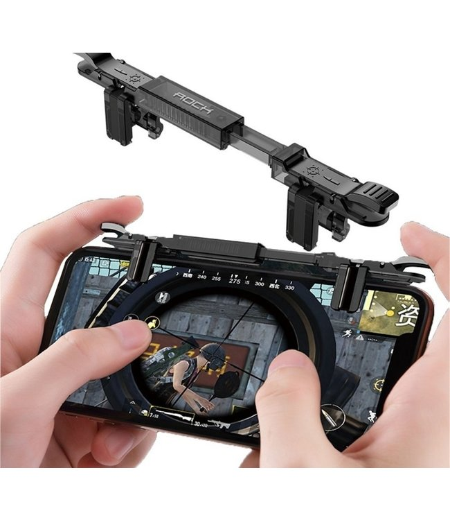 Rock Game Controller Trigger voor iPhone en Samsung (PUBG, FORTNITE, FPS, TPS) - Zwart
