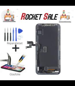Rocket Sale LCD / Scherm voor Apple iPhone X - In-cell Kwaliteit - Zwart+tools+screenguard