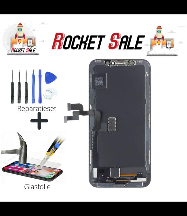 Rocket Sale LCD / Scherm voor Apple iPhone Xs - In-cell Kwaliteit - Zwart+tools+screenguard