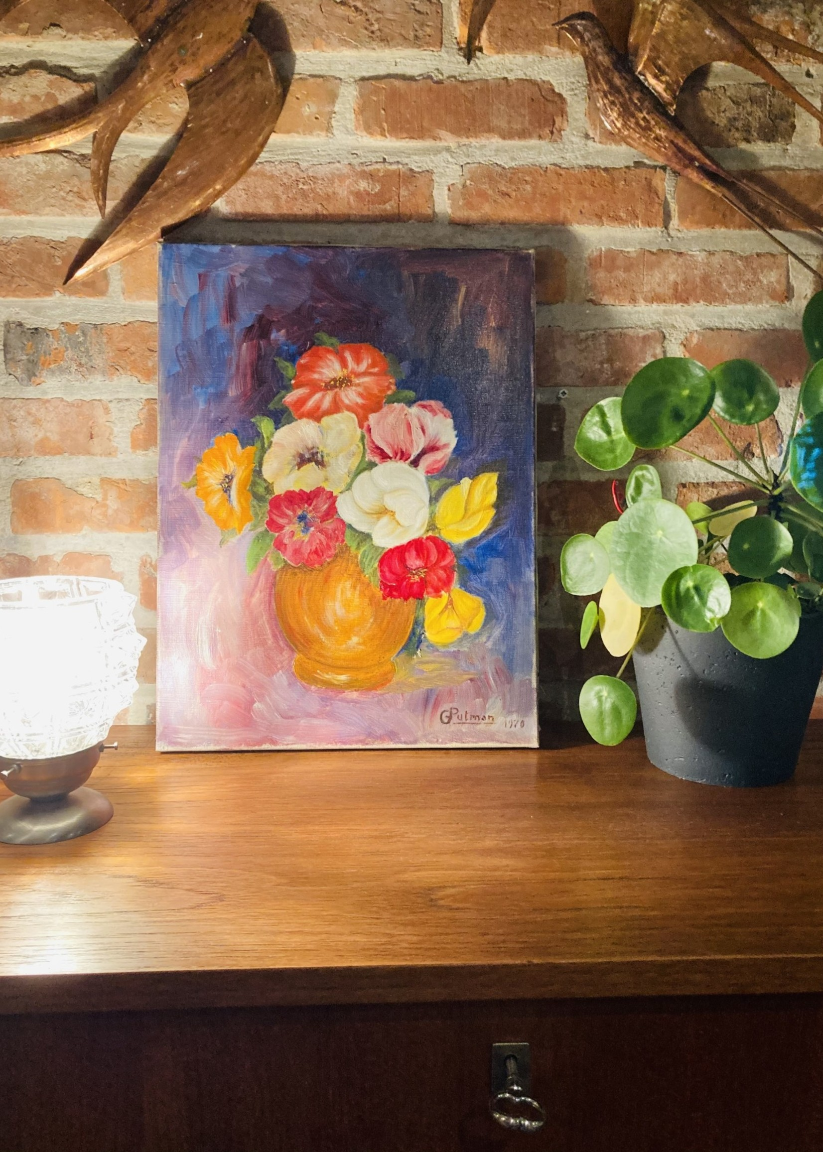 Floral oil painting with blue background